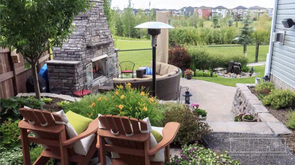 Landscaped yard in Auburn Bay, Calgary