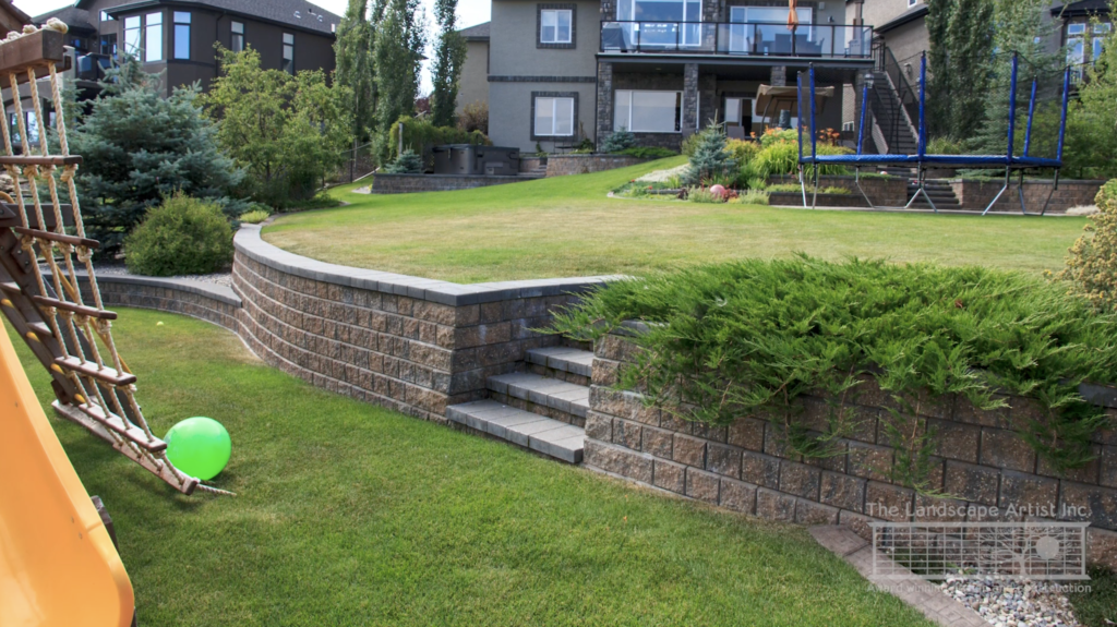 Leveling the Calgary yard with a retaining wall