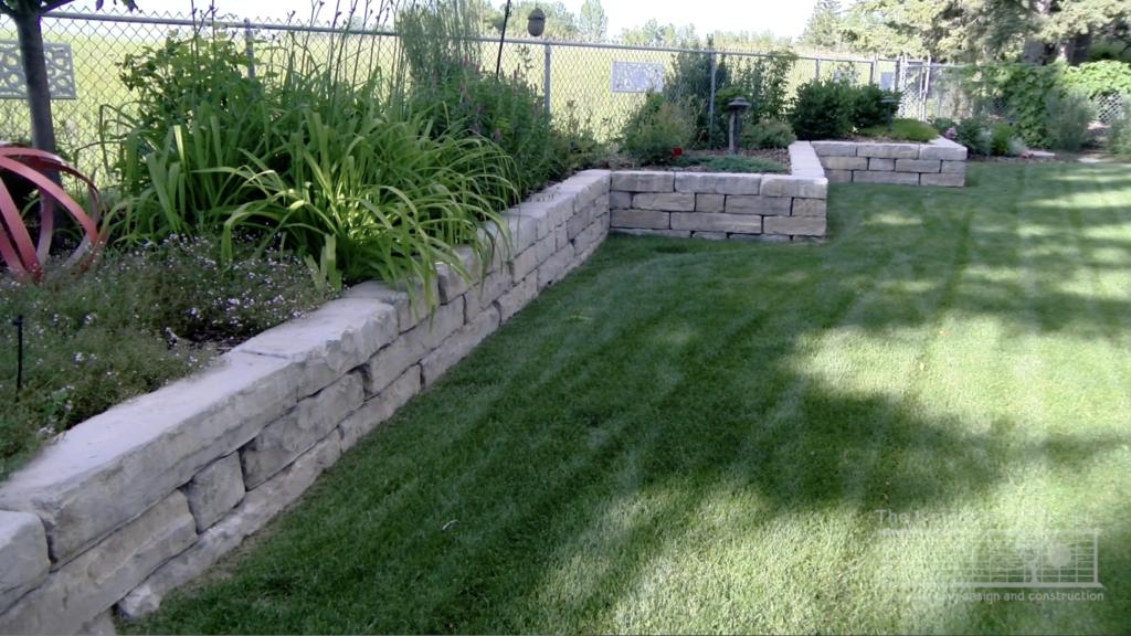 Angular retaining wall in Calgary yard